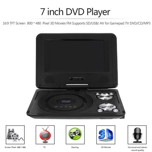 RD-806 7 inch DVD Player 16:9 TFT Screen  800 * 480  Pixel 3D Movies FM Supports SD/USB/ AV for Gamepad TV DVD / CD / MP3 EU Plug