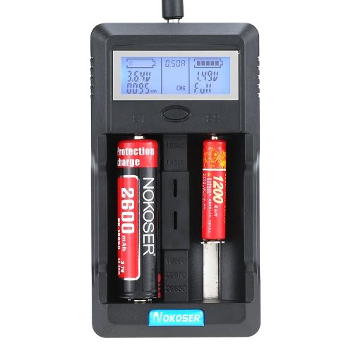 Nokoser 2 slot Digital LCD Carregador de Bateria Inteligente inteligente para AA recarregáveis / AAA Ni-MH Ni-Cd 26650/22650/18650/18500/14500/16340 Li-ion Power Bank