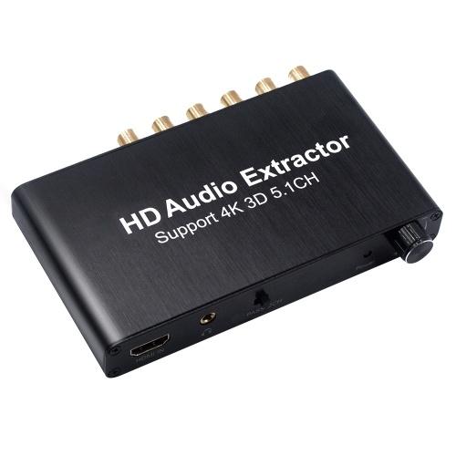 HD Audiokonverter SPDIF w / 3.5mm Stereo HD Audio Adapter HD Extractor Unterstützung 3D 4K