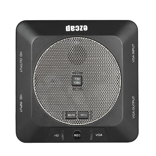 ezcap289 Conférence Enregistreur HD Capture avec microphone intégré Idéal pour la salle de classe pour enregistrer la Conférence UE Plug Noir