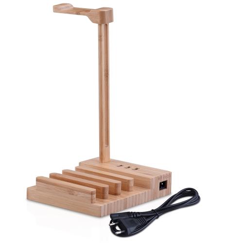 Suporte de fone de ouvido de madeira universal cobrando fone de ouvido titular cabide