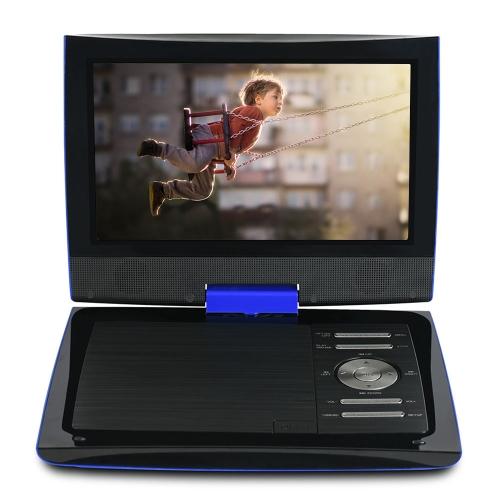 PDVD969 9 pouces Lecteur DVD portable Écran pivotant Lecteur multimédia numérique Soutien Carte SD U Lecture de disque AV OUT w / Casque Télécommande 2800mAh Batterie rechargeable Bleu US Plug