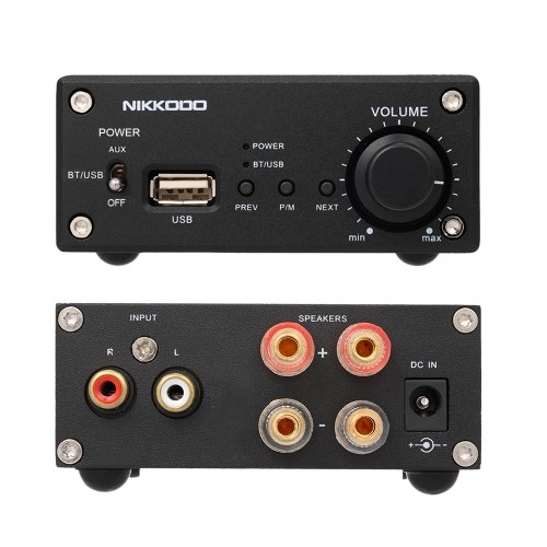 NIKKODO NK-368R Digital Audio Power Amplifier Bluetooth 4.0 Mini HiFi Audio Receiver Amp Dual Channel 50W + 50W with Power Adapter