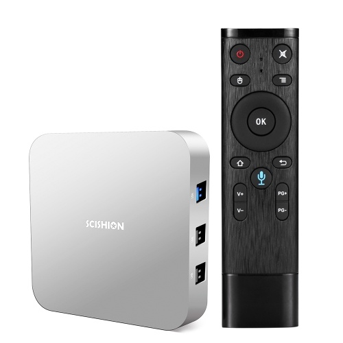 SCISHION AI ONE Android TV Box with Voice Remote Control