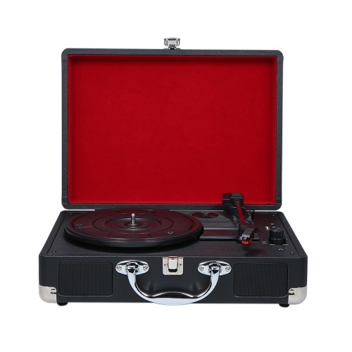 Turntable With Speakers Vintage BT Phonograph USB Interface Record Player Stereo Sound Black EU-type