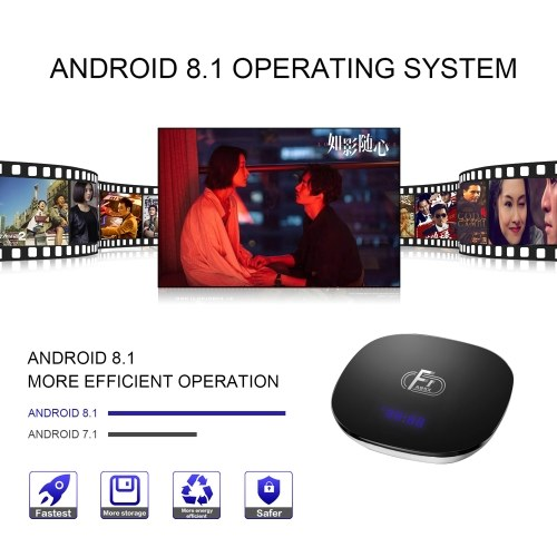A95X F1 Android 8.1 TV Box Amlogic S905W Smart TV Set Top Box Remote Control Quad Core VP9 H.265 2GB / 16GB 2.4G WiFi 100M LAN HD Media Player LED Display