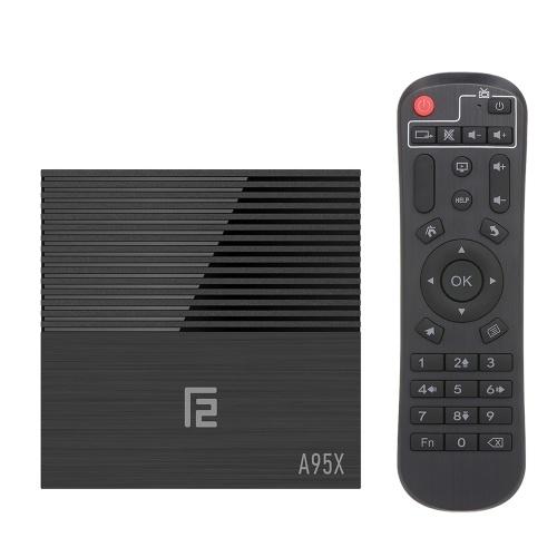 A95X F2 Android 9.0 Smart TV-Box Cortex-A53 Quad-Core H.265 4K VP9 4 GB + 32 GB 2,4 G WiFi HD Media Player Zeitanzeige Video Player-Unterstützung 32 GB TF-Karte Fernbedienung EU-Stecker