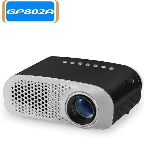 Proiettore GP802A Mini videoproiettore portatile da 100 lumen LED con supporto per altoparlante integrato Interfaccia HD / VGA / AV / USB / SD da 3,5 mm per Home Theater Entertainment