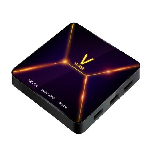 SUPER V Smart Android 9.0 TV Box RK3318 Четырехъядерный 64-битный UHD 4K Медиа-плеер VP9 H.265 4 ГБ / 32 ГБ 2.4 Г Wi-Fi BT4.0 Цифровой дисплей Пульт дистанционного управления
