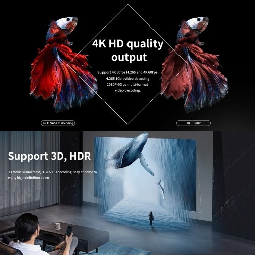 SUPER V Smart Android 9.0 TV Box RK3318 Quad Core 64 Bit UHD 4K Media Player VP9 H.265 4GB / 32GB 2.4G WiFi BT4.0 Digital Display Screen Remote Control