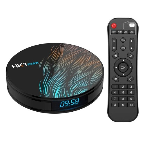 Lecteur multimédia HK1max Android 9.0 Smart TV Box RK3328 Quad Core 64 bits 4 Go / 64 Go UHD 4K VP9 H.265 2.4G / 5G WiFi BT4.0 Écran d'affichage DLNA Miracast Airplay