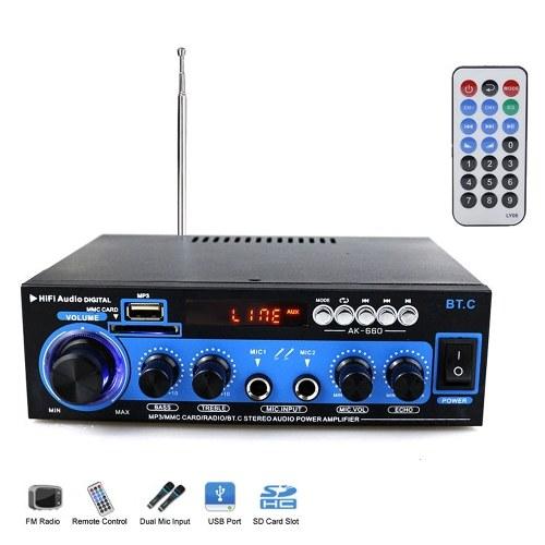 Мини Аудио Усилитель Мощности BT Цифровой Аудио Приемник AMP USB SD Слот MP3-Плеер