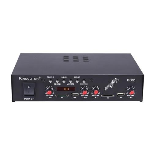 Kinscoter BD01 12V Amplificatore tweeter puro Mini amplificatore di potenza audio Ricevitore audio digitale Slot per scheda di memoria USB Display a LED con telecomando Qualità stereo