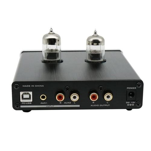 FX-AUDIO TUBE-06 Preamplificador de tubo Tubo de audio doméstico 6N3 Entrada de preamplificador PC-USB AUX Ajuste de graves y agudos Fuente de alimentación DC12V / 1A