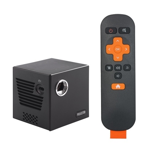 C80 Mini DLP Projector 4K Home Theater Portable Pocket Projector Touch Control Android 7.1.2 2.4G/5G Dual-band WiFi BT4.0 Wired Wireless Mirroring Built-in 3400mAh Battery with Remote Control