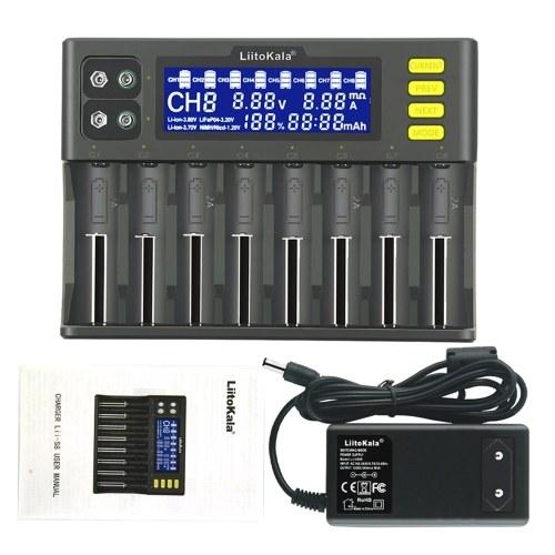 LiitoKala lii-S8 Зарядное устройство Li-ion 3,7 В NiMH 1,2 В Li-FePO4 3,2 В IMR Зарядное устройство 3,8 В для 18650 26650 21700 26700 AA AAA