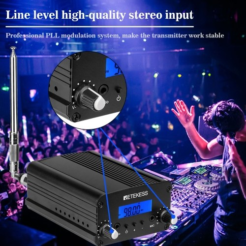 Retekess TR509 Wireless FM Broadcast Transmitter Stereo Radio Station Campus Amplifier Dual Mode with Antenna for Drive-in Church