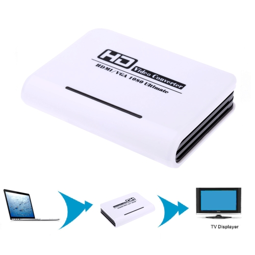 Full 1080P HD to VGA + Audio HD HDTV Video & Audio Converter Adapter for PC Laptop NoteBook DVD