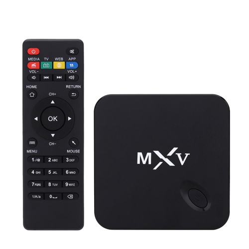 1080P MXV Smart Android 4.4 TV Box Amlogic S805 Quad Core 1.5 GHz 1G / 8G H.265 XBMC DLNA Miracast Airplay WiFi Bluetooth 4.0 TF Card Slot with Remote Controller