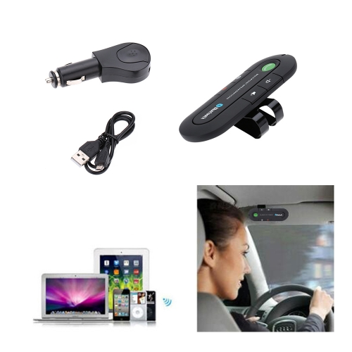 Portable Mini Bluetooth V4.1 Wireless Stereo Audio Music Receiver Multipoint Speakerphone FM Transmitter Car Kit with Mic Hands-free Supports SIRI Function with Metal Clip for Smart Phone Tablet PC Notebook