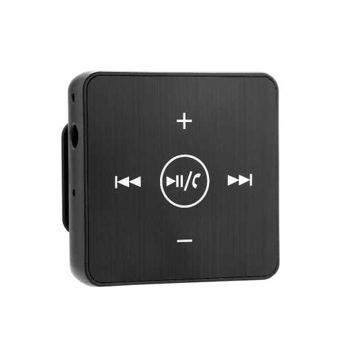 Wireless Bluetooth Audio Receiver Music Box Adapter with Microphone 3.5mm AUX Out Back Clip for Headphone Speaker Car Stereo Home Audio System Black