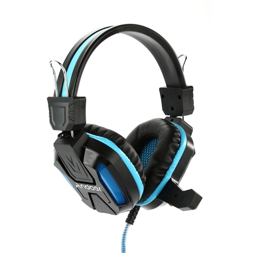 Gaming LED Light Headphone with Microphone Over Ear Stereo 3.5mm  Headset-Blue
