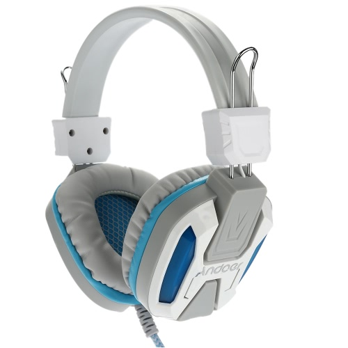 Gaming LED Light Headphone with Microphone Over Ear Stereo 3.5mm  Headset-White