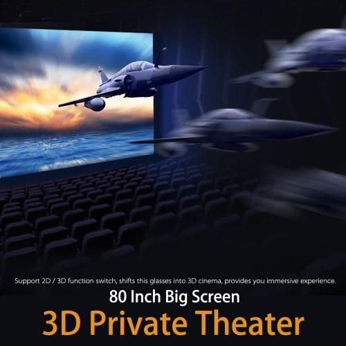 Segunda Mão VISION-800 Inteligente Android WiFi Óculos 80 Polegada Virtual Wide Screen Óculos de Vídeo Portátil 3D Óculos Privada Theater com 5MP HD Câmera Bluetooth 4.0 Inteligente Media Player Rosa Ouro