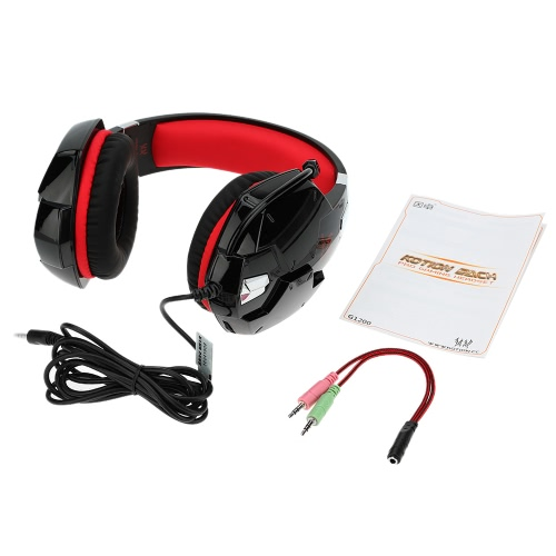 KOTION EACH G1200 3.5mm Gaming Headphone with Mic Headband Headset  Stereo Bass for PS PC Computer Laptop Mobile Phones Red
