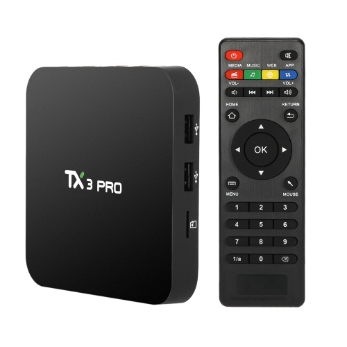 Segunda mano TX3 PRO Smart Android TV Box Android 6.0 Amlogic S905X Quad-core 64bit UHD 4K 1G / 8G Mini PC WiFi y LAN H.265 DLNA Airplay Miracast Media Player Enchufe de EE. UU.