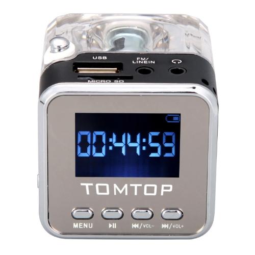 Мини цифровой портативный музыкальный проигрыватель MP3/4 Micro SD/TF USB диск спикер радио FM черный