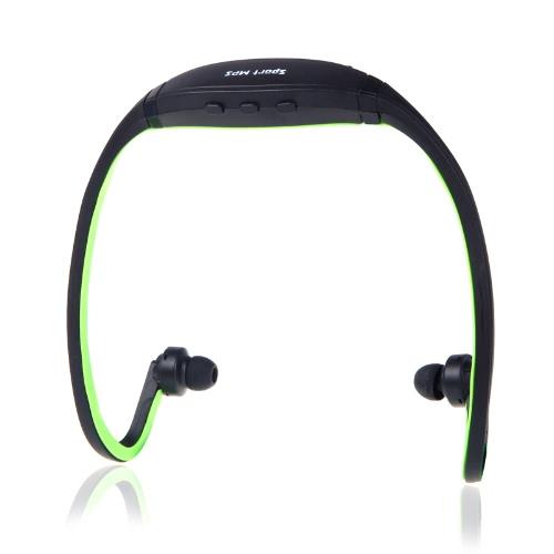 الرياضة MP3 وما مشغل موسيقى تف / مايكرو سد فتحة بطاقة سماعة أسود + أخضر