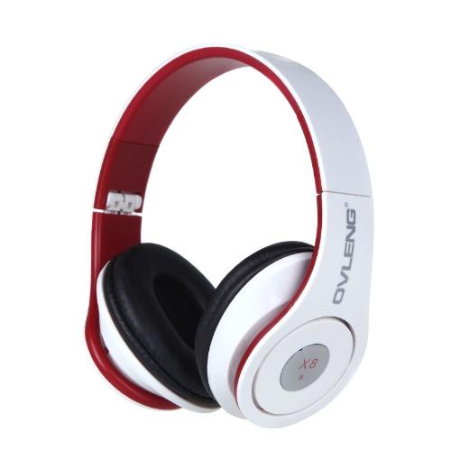 OVLENG X 8 pliable 3,5 mm casque multimédia avec microphone pour iPhone Samsung Téléphone portable blanc