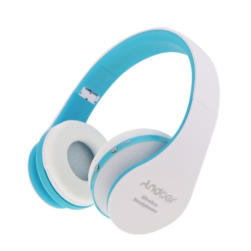 Foldable Wireless Bluetooth Stereo Headset Handsfree Mic for iPad PC White&Blue фото