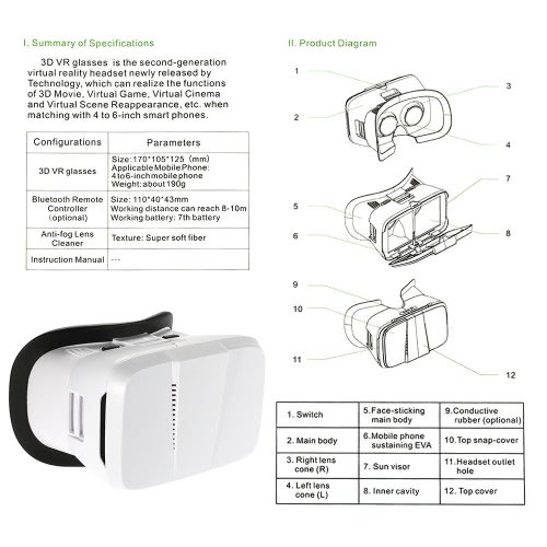"Andoer Portable  3D VR Glasses Virtual Reality VR Head Mount With Headband VR For All 3.5""~6.0"" Smartphone For iPhone 6 6Plus Sams"