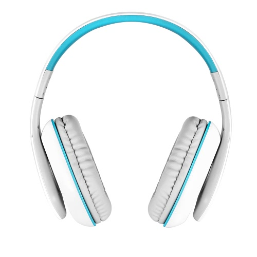 KOTION EACH B3506 Wireless Bluetooth Stereo Headphone Bluetooth 4.1 CSR 8635 Over-ear Foldable Gaming Headset with Mic 3.5mm Cable for PS4 PC Smart phones Computer White with Blue