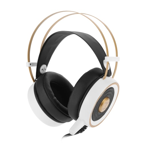 V7 5.1 Surround Sound USB Stereo Gaming Headphone Super Bass Over-ear Headset LED Light with Mic for PC Laptop White with Golden