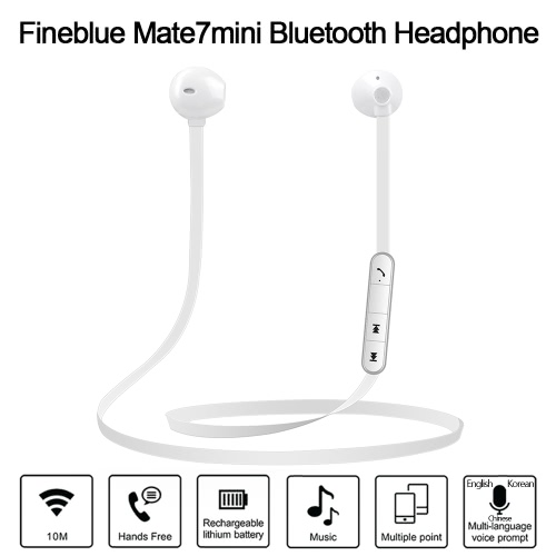 BT Headphones Fineblue  Mate7mini Stereo BT 4.0 In-ear Sport Sweatproof Magnetic Headsets Noise Cancelling Music Earphones Hands-f