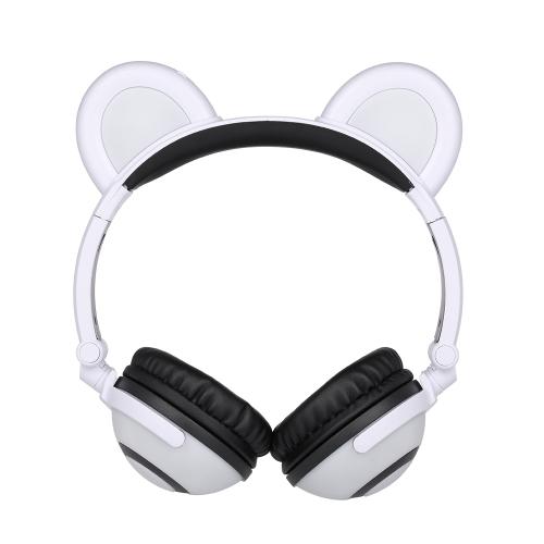 Bear Ear Headphones Kids Foldable Over-head Headset Cosplay Gaming Fone de ouvido Incandescente piscando recarregável para Tablet PC Smart Phones
