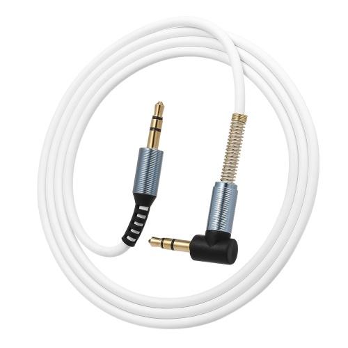 3.5mm Câble Audio Jack Mâle à Mâle 90 Degrés À Angle Droit Stéréo Voiture Téléphone Portable Auxiliaire Audio Extension Câble, Blanc