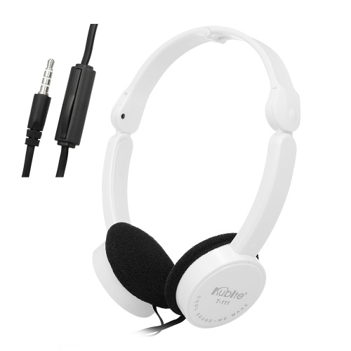 KUBITE T-111 3.5mm Wired Over-ear Headphones Foldable Sports Headset Portable Music Gaming Earphones w/ Microphone for Kids MP4 MP3 Smartphones Laptop Tablet PC