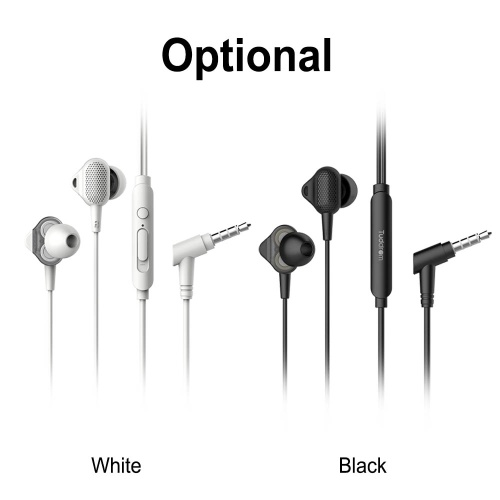 Tuddrom H3 3.5mm Wired Headphones Dual Dynamic Headset In-Ear Music Earphone with Mic for iPhone Xiaomi Android Smart Phone