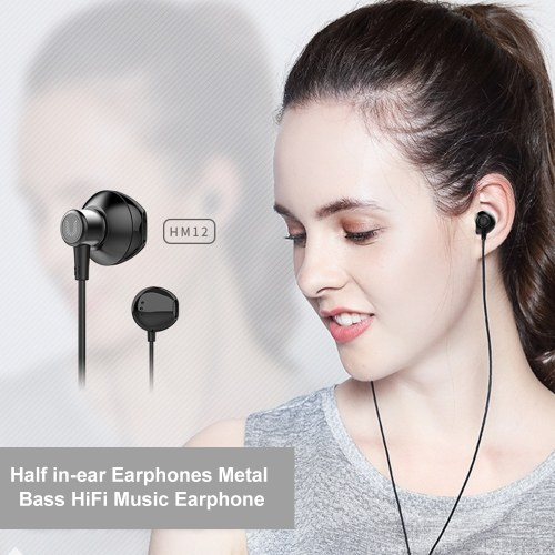 UiiSii HM12 Half In-ear Headset Metal Bass Music Earphone Wired Headphones with Mic for iphone Xiaomi PC MP3