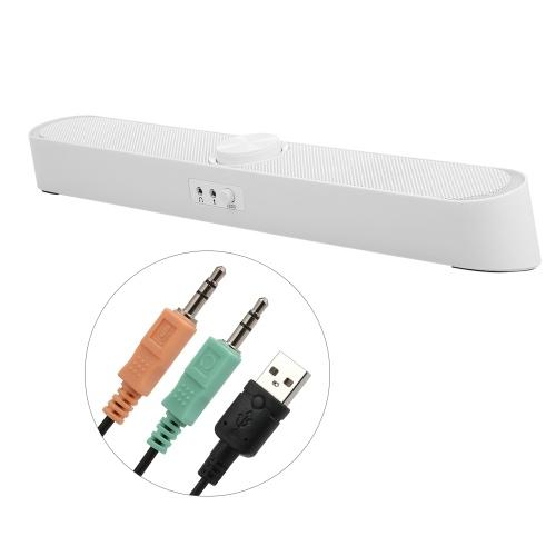 SADA V-198 USB Powered Sound Bar Computer Speakers with LED Lights 3.5mm Audio Mic Plug Wired Soundbar Speaker for PC Cellphone Tablets Desktop Laptop