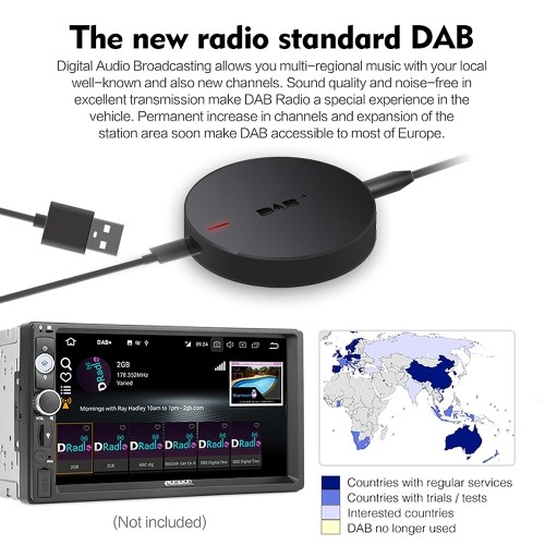 DAB+008 DAB+ Box Car Radio Tuner Receiver Digital Audio Broadcasting Receiver Box Car Stereos for Car Radio Android 5.1 and Above (Only for Countries