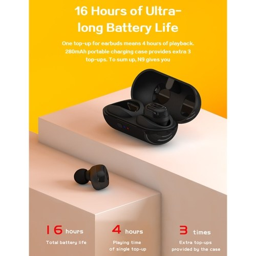 TWS-N9 Sports Earphones Stereo Wire-less BT5.0 Earbuds Headphones in-Ear Headsets with 300mAh Rechargeable Charg-ing Box Supporting Wire-less Charge Compatible with Android / iOS фото