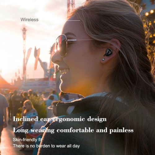TWS T60 Earbuds True Wireless Headphones Mini Bluetooth 5.0+EDR In-Ear Headset Hands-free with Mic Compatible with iOS Android