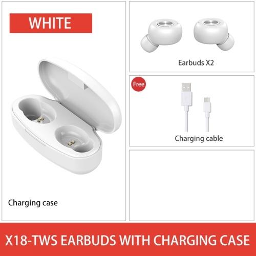 X18-TWS BT5.0 Écouteur sport connecté Écouteurs avec contrôle de capteur de pression sensible Fonction de réveil Siri 300mAh Conception de boîte de charge haute capacité Mini Portable pour cadeau cadeau blanc