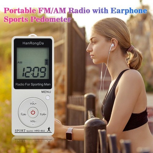 HRD-602 Portable Radio Receiver FM/AM Radio LCD Display Lock Button Pocket Radio with Earphone Sports Pedometer