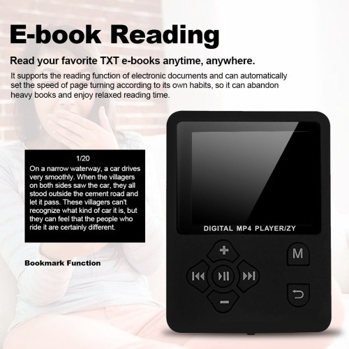 MP3 MP4 Digital Player 1.8 Inches Color Screen Music Player Lossless Audio Video Player Support E-book FM Radio Voice Recording TF Card Stopwatch